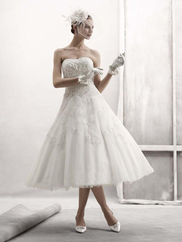Fall 2011 tea length wedding dress by Oleg Cassini
