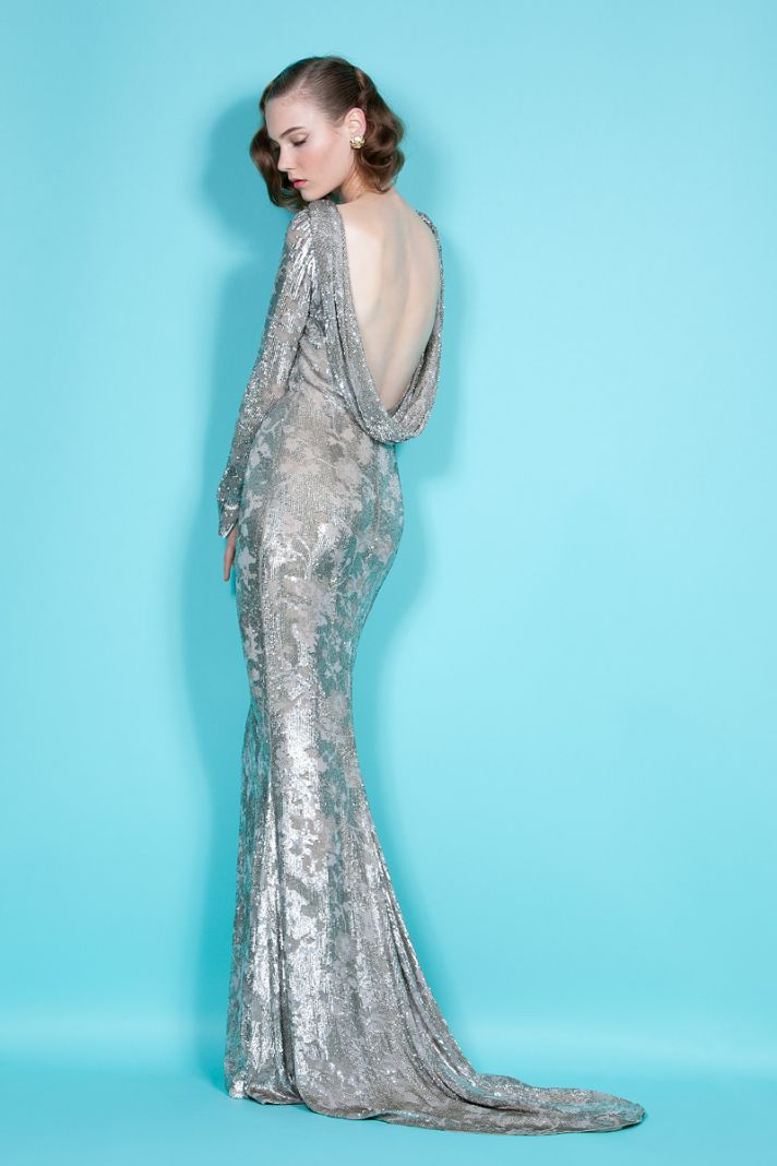 Sultry open back gilded mermaid bridal gown by Marchesa