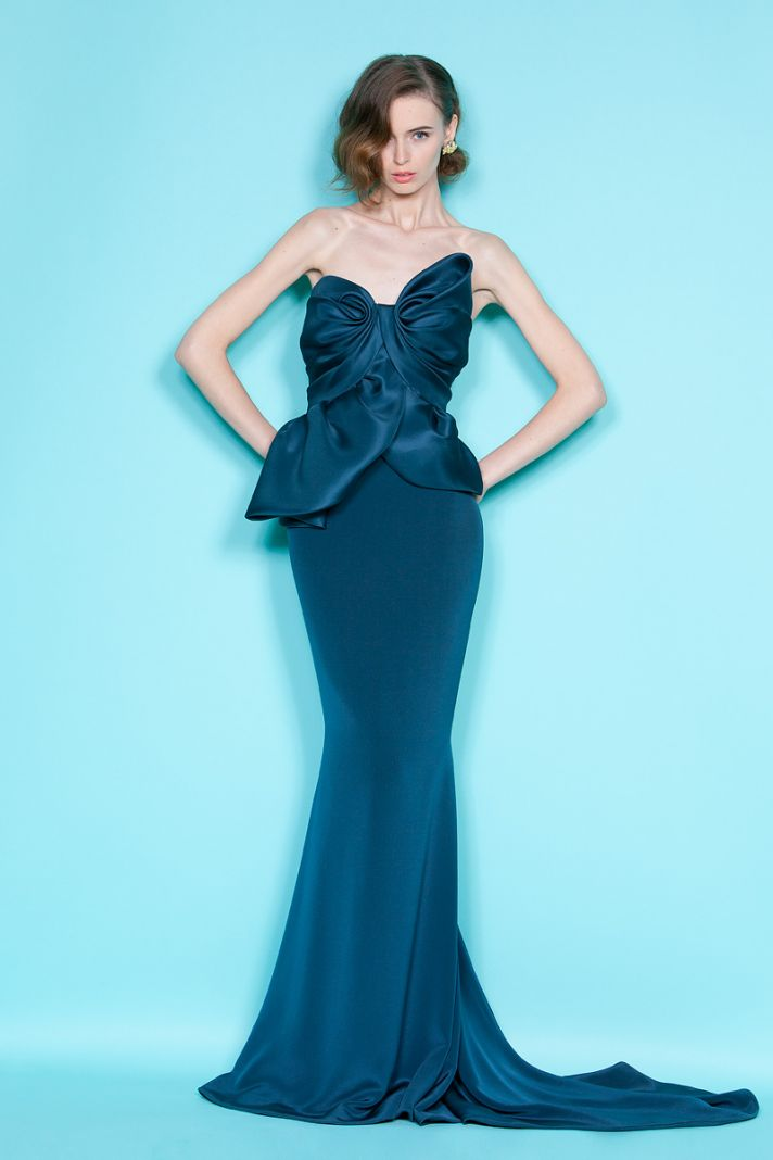 Elegant deep ocean blue mermaid bridesmaid dress by Marchesa