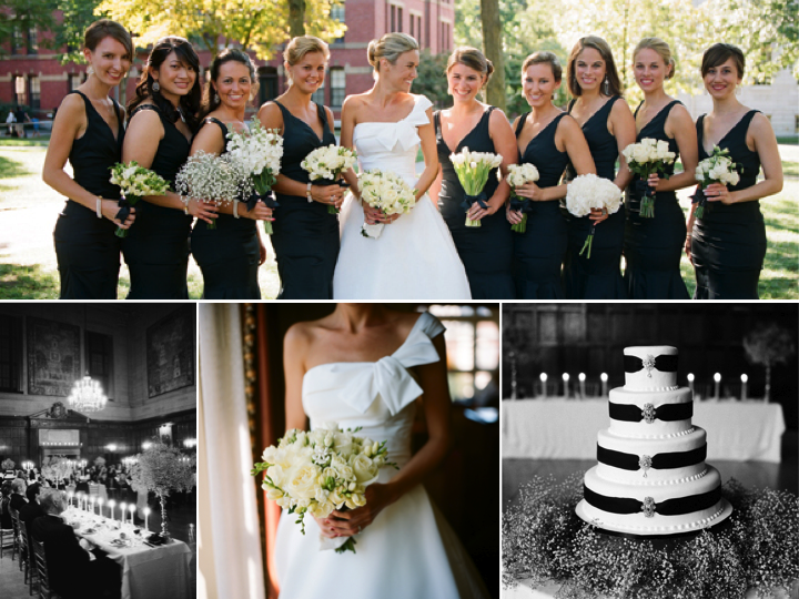 Chic Black And White Wedding With Unique Ivory Bouquets