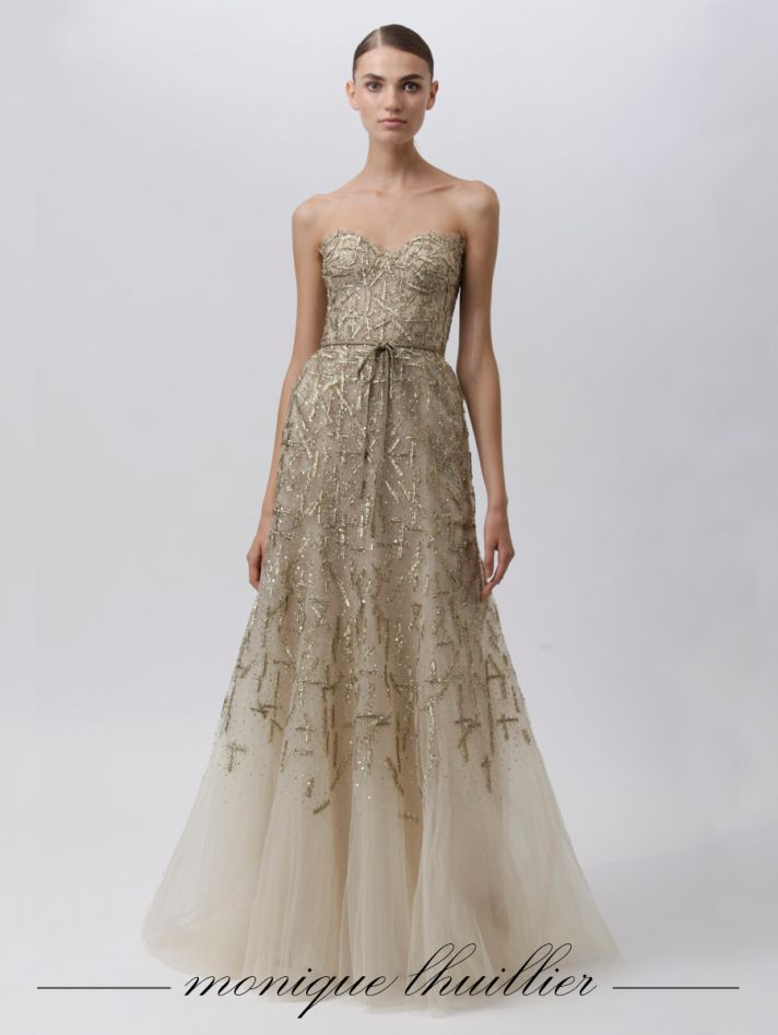 Champagne a-line Monique Lhuillier bridal gown