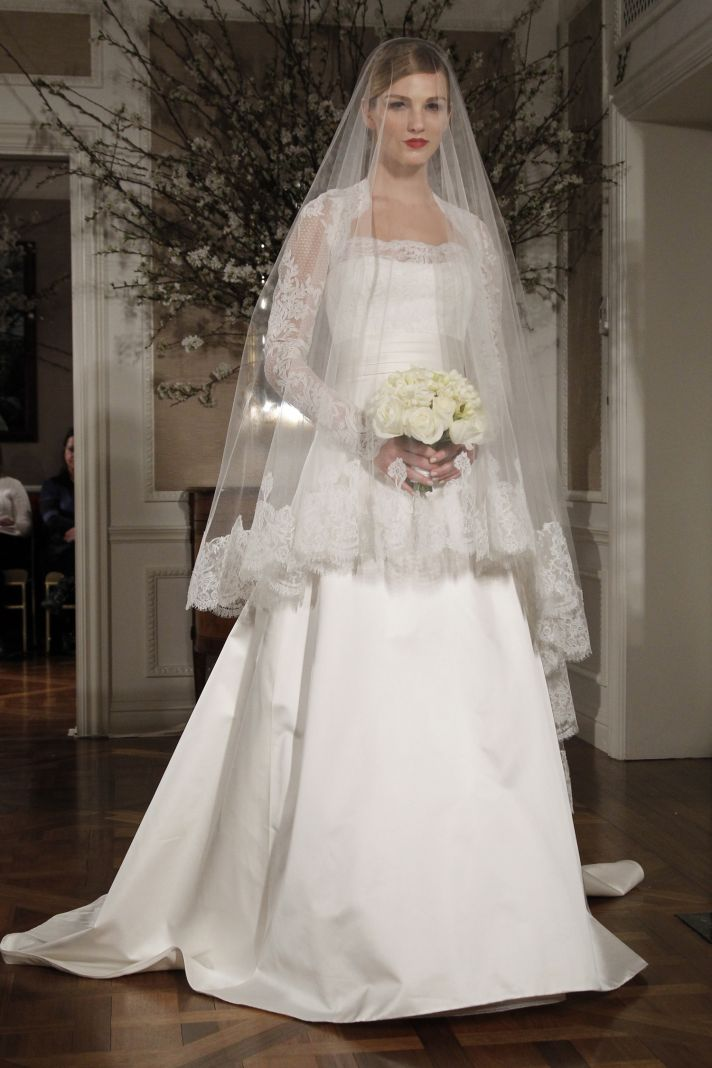 Square neck a-line Legends by Romona Keveza wedding dress with lace long sleeves