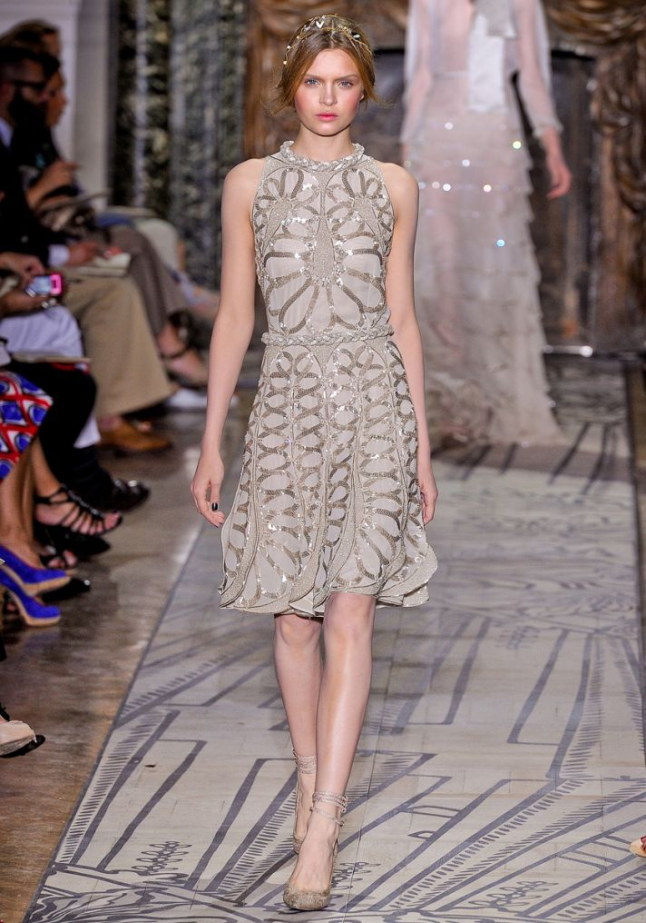 Champagne and gold halter wedding reception dress by Valentino