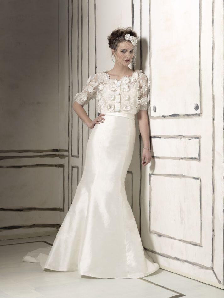 Classic mermaid wedding dress with embellished bridal bolero