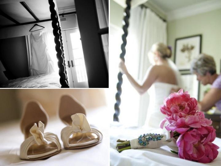 Ivory strapless wedding dress Kate Spade bridal heels pink peony bridal