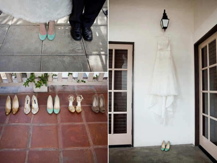 White wedding dress hangs from lantern, bridal heels arranged by bridesmaids' shoes