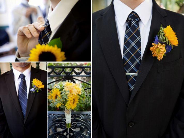 Sunflower wedding flowers adorn lapel of groom's tuxedo