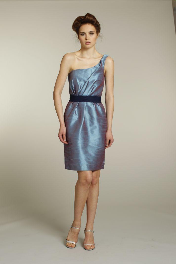 Iridescent one-shoulder bridesmaid dress