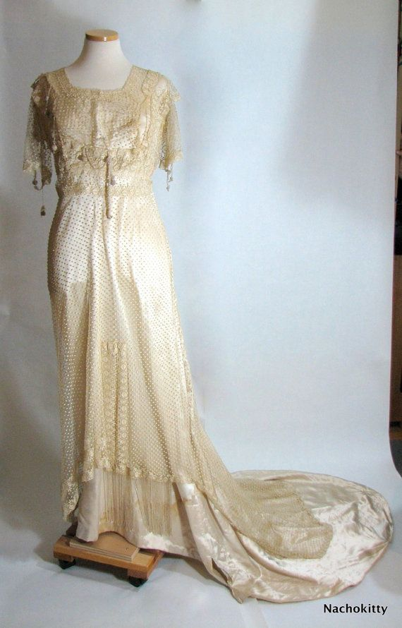 Antique silk vintage wedding dress