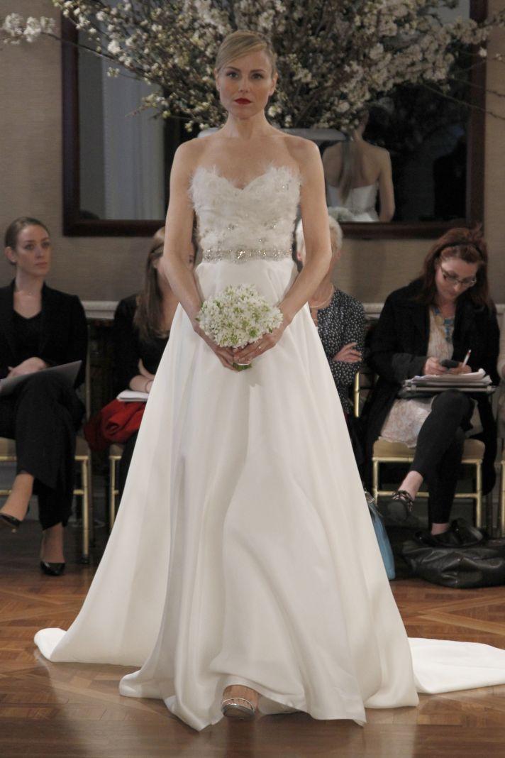 A-line wedding dress with embellished bodice and crystal bridal belt
