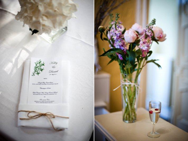 Romantic destination wedding flowers and Irish-inspired wedding reception menus
