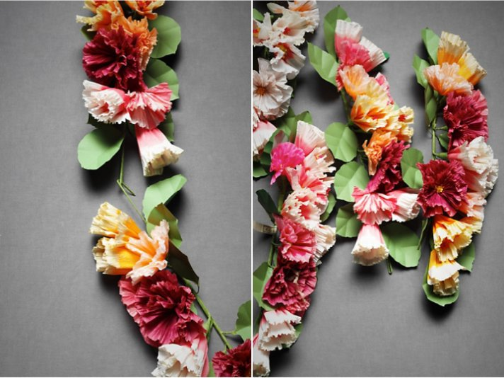 Colorful floral garland for wedding ceremony or reception by BHLDN