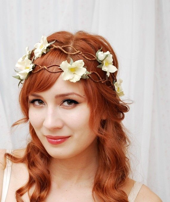 Bohemian bridal style and floral head wreath