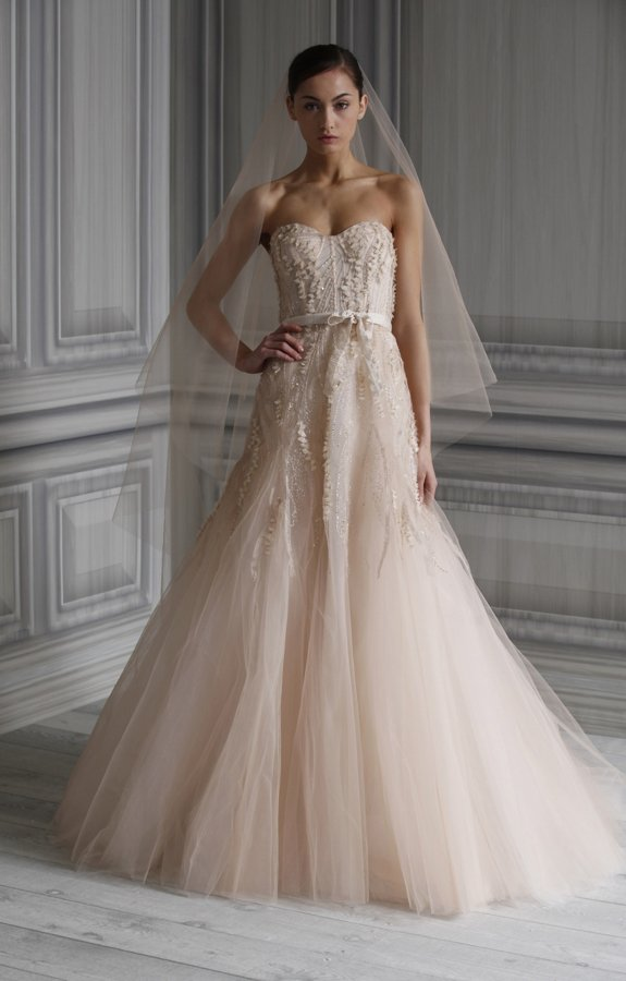Blush pink Monique Lhuillier wedding dress
