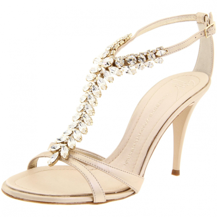 Strappy pink bridal heels by Kate Spade