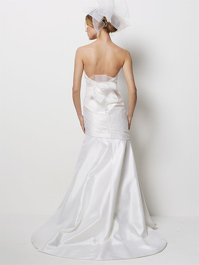 Ivory mermaid wedding dress with off-the-shoulder cap sleeves