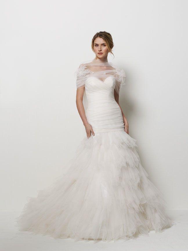 Drop waist mermaid tulle wedding dress