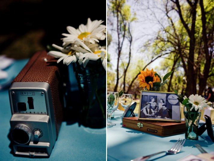 Retro themed outdoor wedding with antiques as wedding reception decor