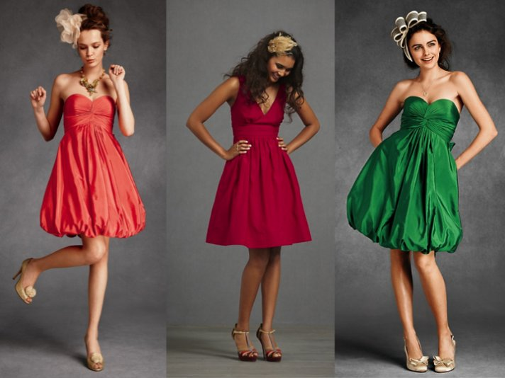 Vibrant BHLDN bridesmaids dresses