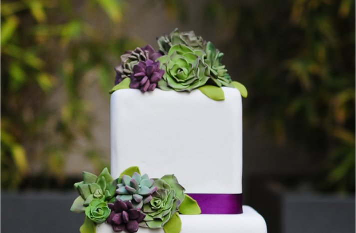 white-wedding-cake-eco-friendly-succulents-pink-purple