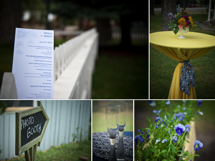 Outdoor summer wedding with yellow and navy color palette