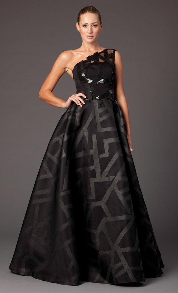 Black one-shoulder elegant bridesmaid gown