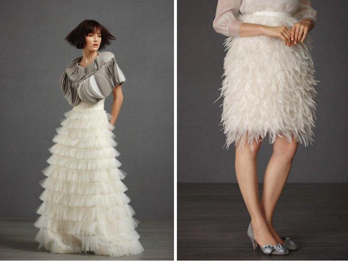 BHLDN bridal accessories- layered bridal bolero, feather-embellished skirt