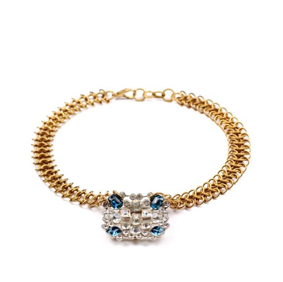 Gold vintage bridal necklace with Something Blue stones