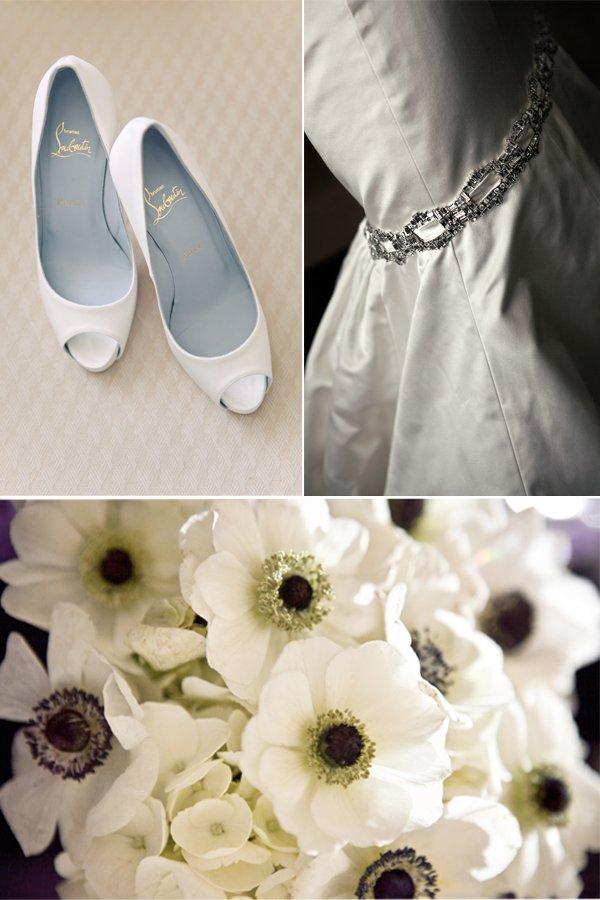 Christian Louboutin wedding shoes, white wedding dress