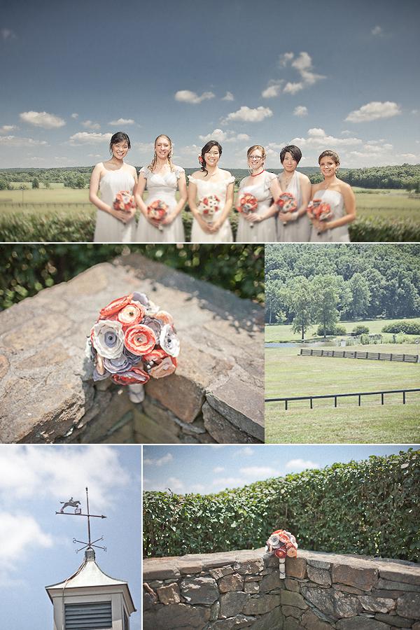 Mix and match bridesmaids dresses outdoor wedding venue romantic bridal