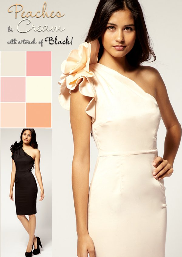 Sophisticated wedding color palette- peaches and cream with hints of black