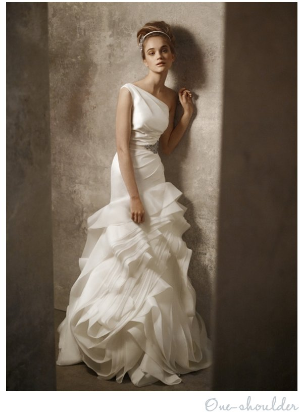 One shoulder White by Vera Wang wedding dress