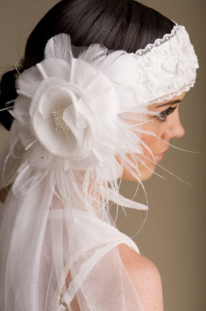 Vintage-inspired bridal headband and veil