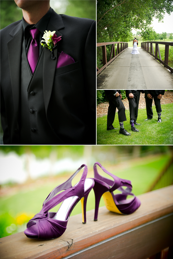 Groom wears black tuxedo purple tie to match with bride 39s purple wedding