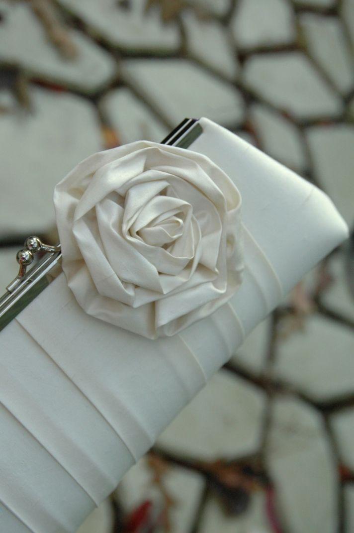 Classic ivory silk wedding clutch