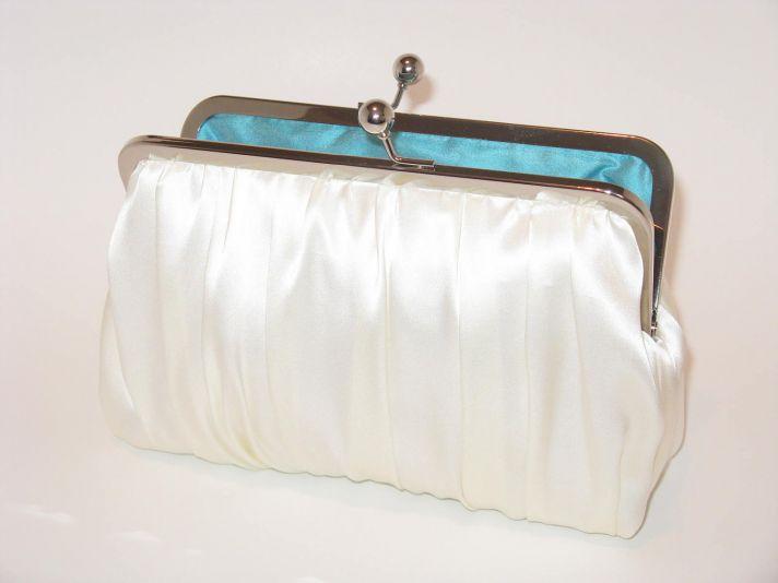 Classic white silk dupioni wedding clutch ith something blue inside