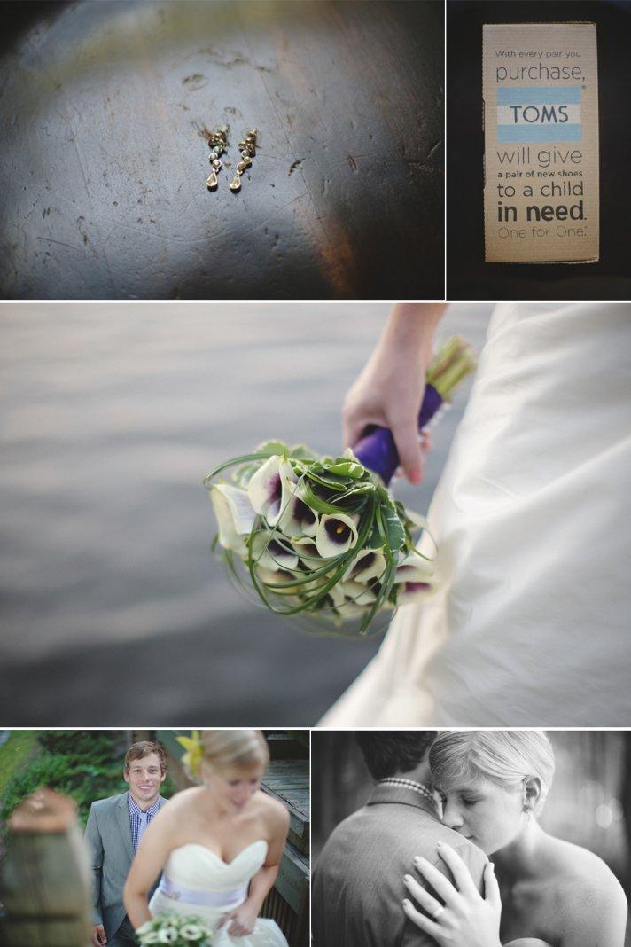 Simple bridal earrings, TOMS wedding shoes, elegant bridal bouquet