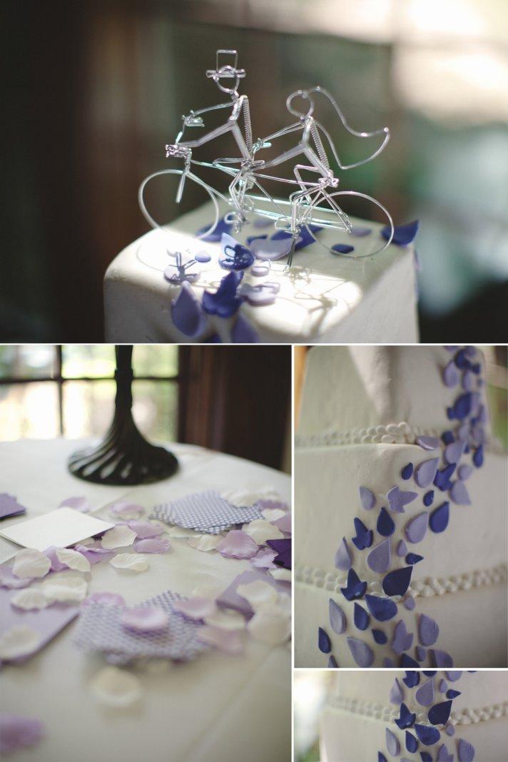 Unique wedding cake topper, purple wedding flowers
