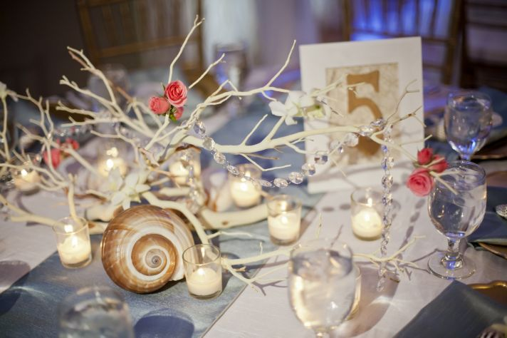 Seaside themed wedding tablescape