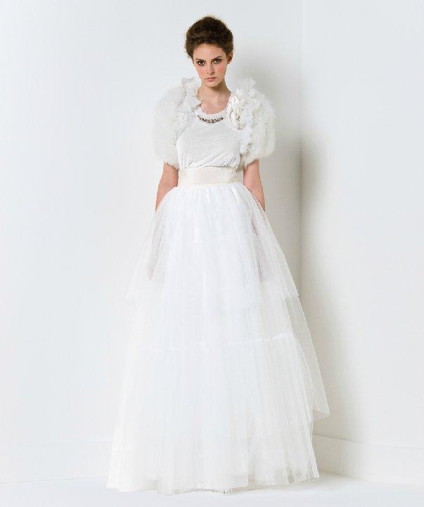 Tulle ballgown wedding dress with fur bridal shrug