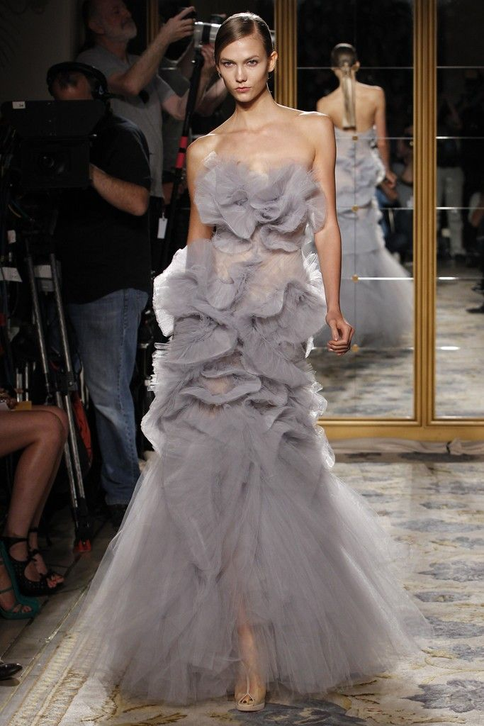 Fanciful tulle mermaid wedding dress by Marchesa