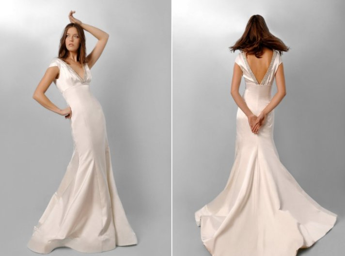 Ivory mermaid wedding dress with deep v back