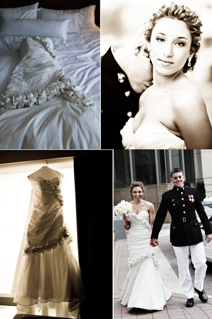 Jewish bride wears elegant ivory mermaid wedding dress, all-up wedding hairstyle
