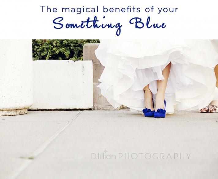 Learn how your something blue, like these blue wedding shoes, can reduce wedding day stress