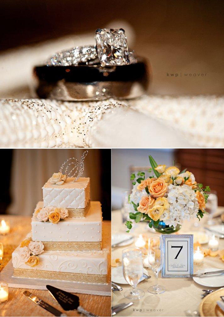 Traditional wedding cake, beach themed fall wedding reception flowers