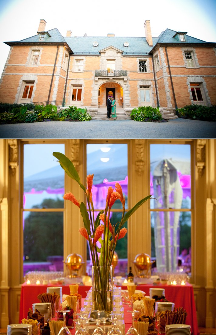 Opulent PN wedding venue, hot pink wedding flowers