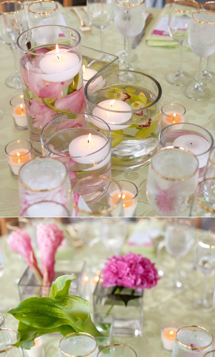 Floating candles with tropical flowers for wedding centerpieces