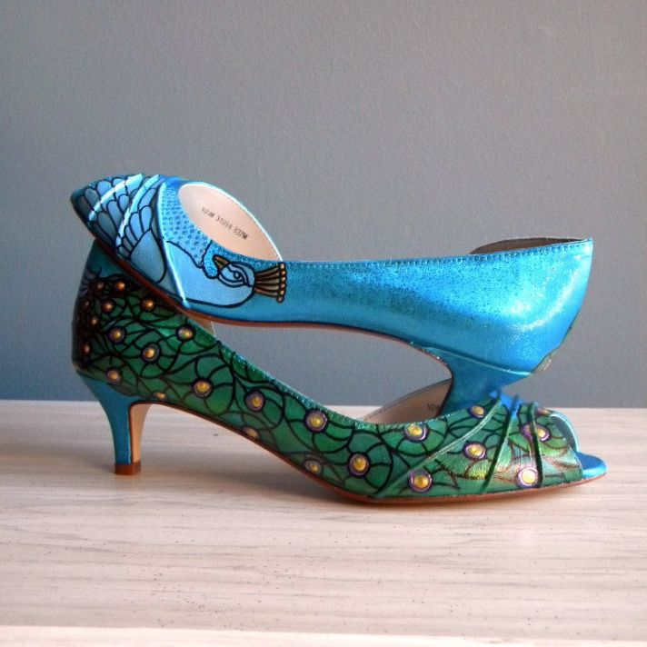 Teal wedding shoes with peacock detail