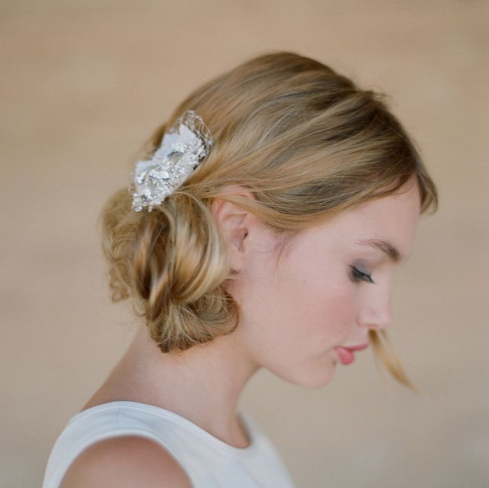 Vintage-inspired bridal hair barrette and wedding updo
