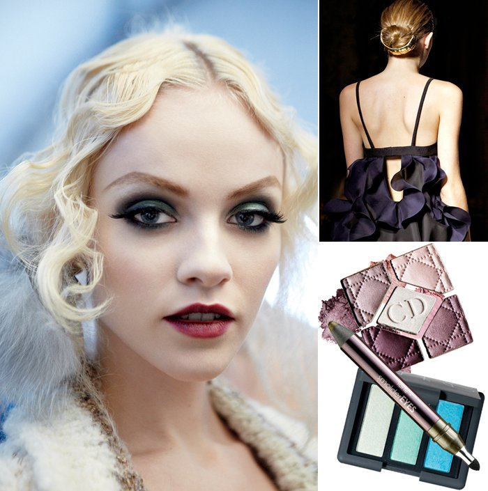 Jewel-toned bridal makeup, sleek wedding hairstyle